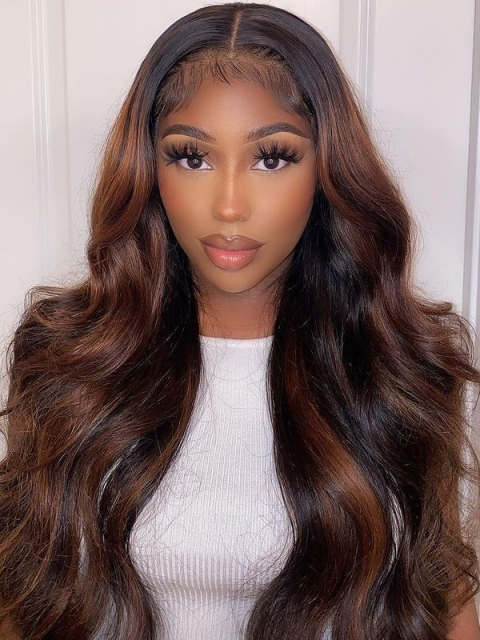 Hairstylist Collection-NEW&PERFECT BROWN HIGHLIGHT T PART LACE CLOSURE WIG WITH WAND CURLS-CCW702