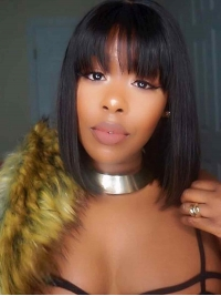 8-14 Indian remy 13*4 three-way-parting lace front wig with bang