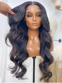 New&Upgraded 5×5 Invisible Real HD Lace Closure Gorgeous Long Body Wave Human Hair Wig-SWC061