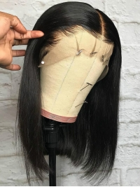 14 Inches one length indian remy 360 lace frontal wig bob - WE068