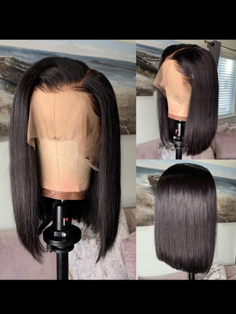 14 Inches one length indian remy 6' parting space lace front wig bob