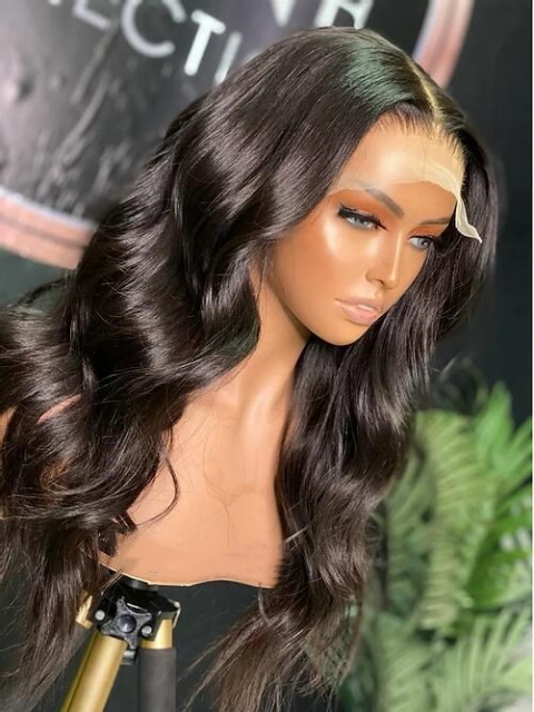 NO MORE GRIDS- More Natural 5*5 Lace Closure Human Hair  Invisi-Scalp Wig With Wand Curls -IS004
