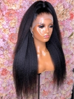 BOGO-NEW-NO DIY-Holiday slay luxury real invisible HD lace big voluminous kinky straight yaki human hair lace front wig - HD096