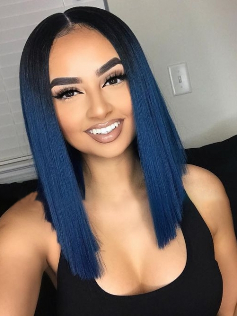 BLUE SEA HUMAN HAIR LACE WIG-4' PARTING SPACE LACE FRONT WIG