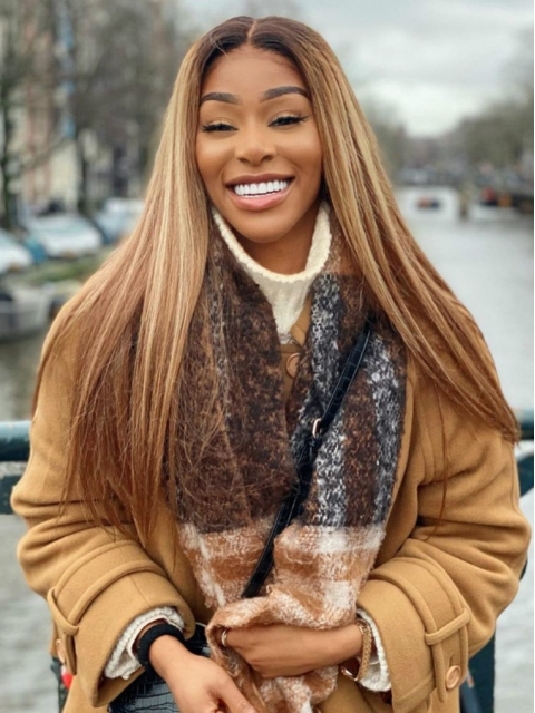 Hairstylist Collection-NEW BLOND HIGHLITED WIG WITH BROWN ROOTS T PART LACE CLOSURE WIG-CCW697