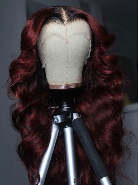 Hairstylist Collection-Bombshell Dark Wine Ombre Human Hair Wig With Dark Roots-T Part Lace Closure Wig Cap-CCW086