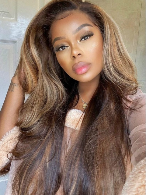 HAIRSTYLIST CUSTOM COLOR -NEW HOLIDAY SLAY BLOND BROWN TWO TONE HUMAN HAIR LACE FRONT WIG-LW789