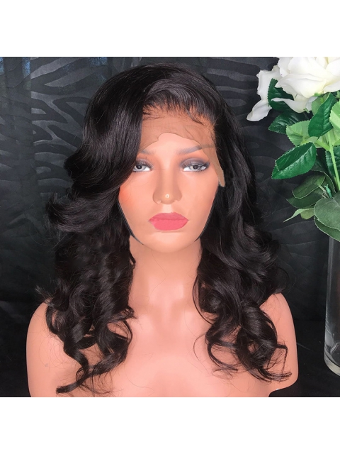 10-22 inches indian remy straight 360 lace frontal human hair wig with wand curls