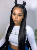 NEW NO DIY - REAL INVISIBLE HD LACE - STRAIGHT HUMAN HAIR LACE FRONT WIG WITH WAND CURLS- HD899