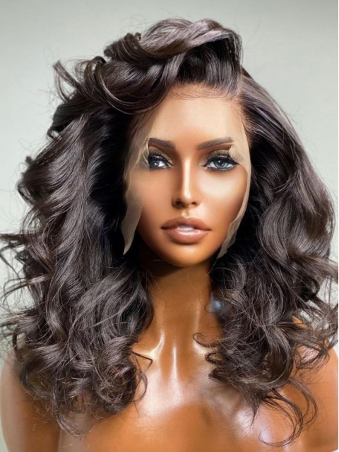 NEW NO DIY - REAL INVISIBLE HD LACE - PRETTY HUMAN HAIR LACE FRONT WIG WITH WAND CURLS- HD900