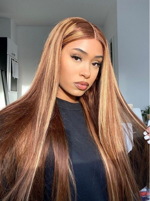 Hairstylist Collection-NEW HONEY BLOND HIGHLITED T PART LACE CLOSURE WIG-CCW699
