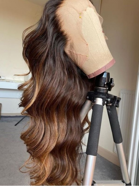 Hairstylist Collection-NEW&GORGEOUS BROWN HIGHLIGHT T PART LACE CLOSURE WIG WITH WAND CURLS-CCW703