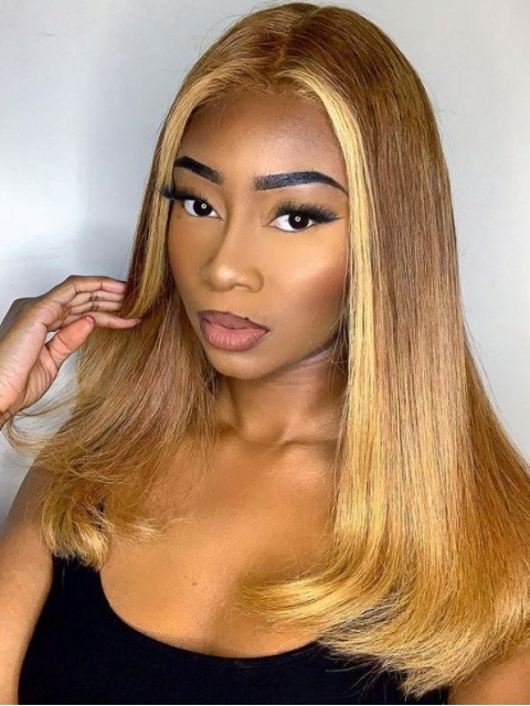 Hairstylist Collection-NEW&GORGEOUS GOLDEN HIGHLIGHT T PART LACE CLOSURE WIG WITH WAND CURLS-CCW704