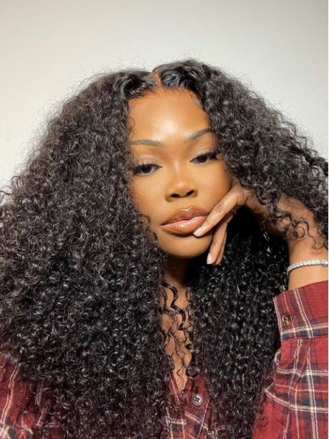 BIG&FULL-NEW LACE FRONTAL HUMAN HAIR CURLY WIG-WLF299