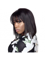 Rihanna inspired indian remy lace front wig with bang - LFB006