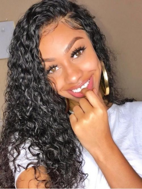 Indian virgin 13*4 three way parting lace front preplucked human hair lace front curly wig