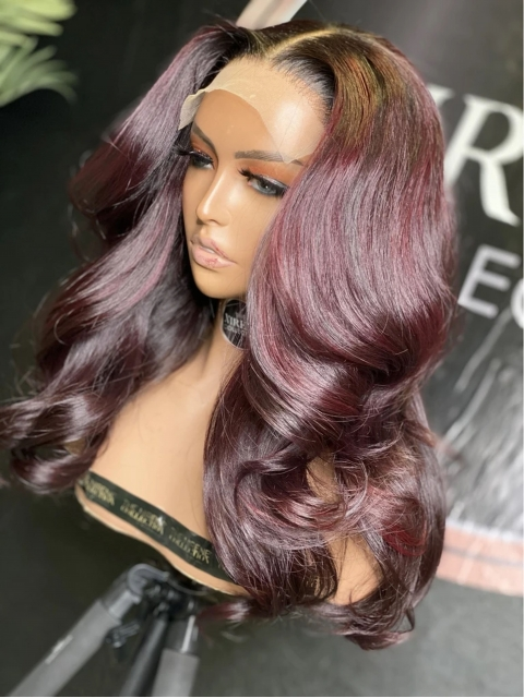 Custom Color-Bombshell Red Wine Ombre Human Hair Wig With Wand Curls-CC002
