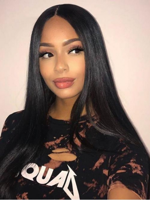 Indian virgin 6 inches deep parting preplucked human hair lace front straight wig