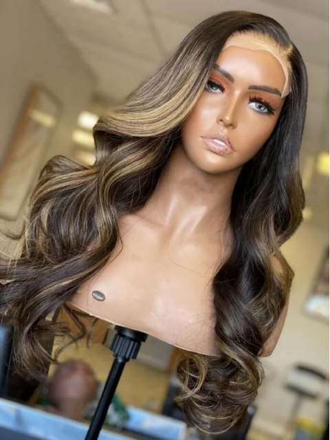 NEW DAY NEW COLOR-Gorgeous Brown Highlight Lace Closure Human Hair With Wand Curls-CC005