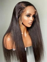 13*6 SUPER FINE INVISIBLE HD LACE-SILKY STRAIGHT HUMAN HAIR LACE FRONTAL WIG- HD915