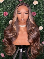 NEW DAY NEW COLOR-Gorgeous Chocolate Highlight Lace Closure Human Hair With Wand Curls-CC008