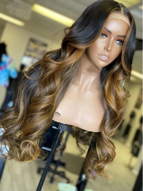 NEW DAY NEW COLOR-Gorgeous Brown Highlight Lace Closure Human Hair With Wand Curls-CC009