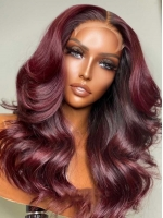 NEW DAY NEW COLOR-Red Wine Ombre Human Hair Wig With Wand Curls-CC011