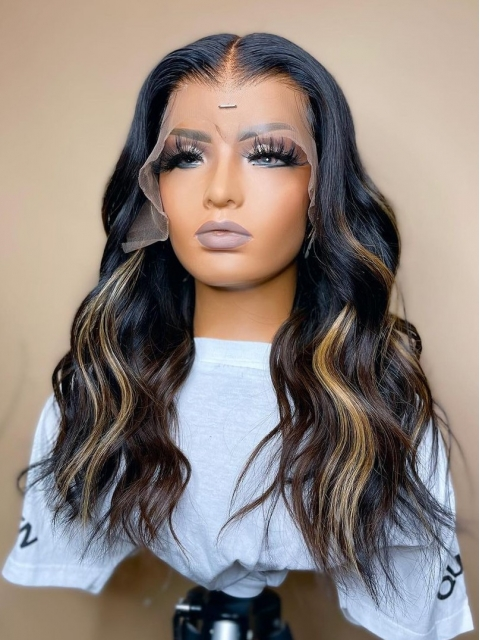 Hairstylist Collection-GORGEOUS&SPECIAL HIGHLIGHT T PART LACE FRONTAL WIG WITH WAND CURLS-CCW710