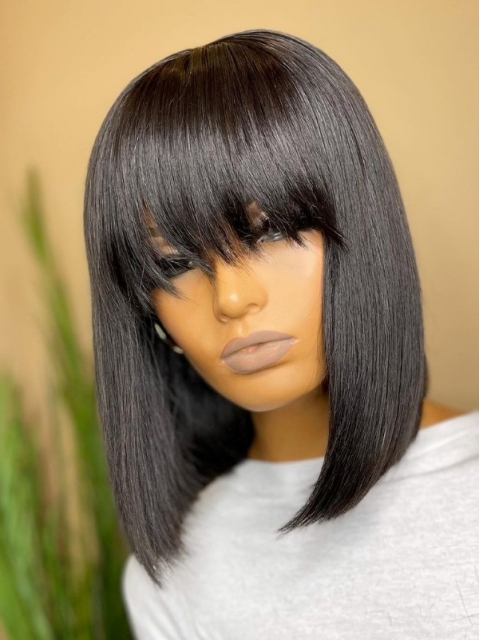 NO NEED TO HIDE LACE-MOST REALISTIC BEGINNER FRIENDLY LACE CLOSURE BOB WIG WITH BANGS-WE811