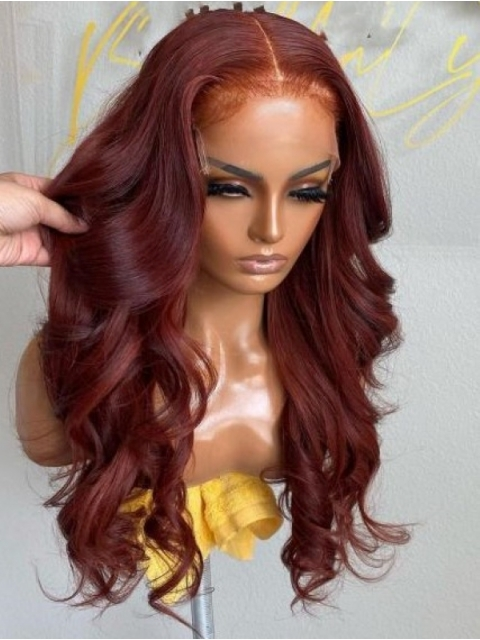 NEW DAY NEW COLOR-New Red Wine Ombre Human Hair Wig With Wand Curls-CC019