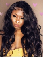 Indian virgin preplucked full lace human hair wavy wig-FL006