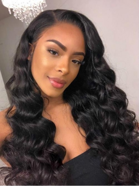 Indian virgin human hair preplucked full lace wavy wig