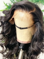 Indian virgin 6 inches deep parting preplucked human hair lace front wig with wand curls-LFS007