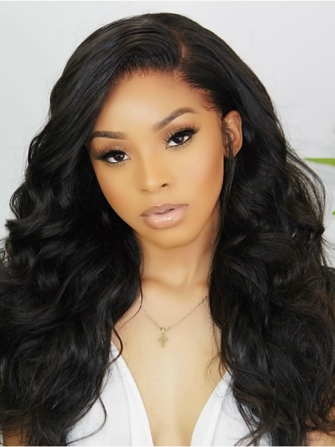 Indian virgin side part preplucked full lace human hair straight wig with wand curls