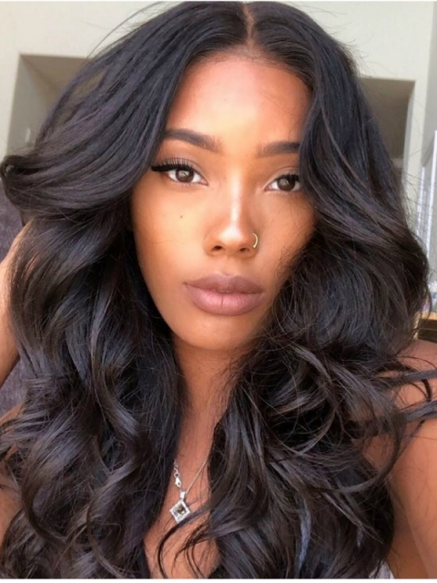 Indian virgin free part preplucked full lace human hair body wave wavy wig