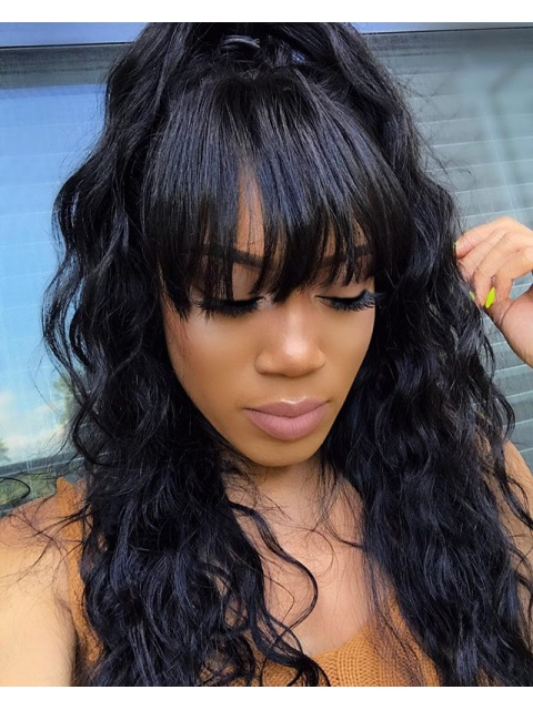 18 Inches Wavy Indian Remy Full Lace Human Hair Wig With Bangs