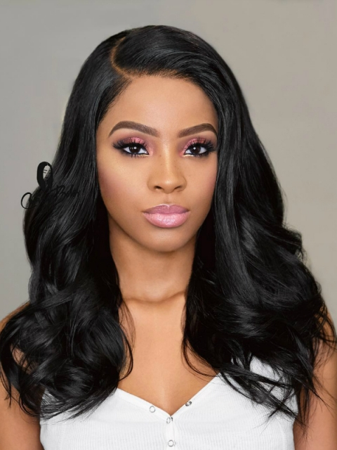 Indian virgin 6 inches deep parting preplucked human hair lace front wig with wand curls