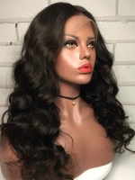 Indian virgin preplucked human hair wavy full lace wig middle part -FL019