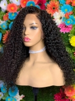 Indian virgin 6 inches deep parting preplucked human hair lace front curly wig-LFC011