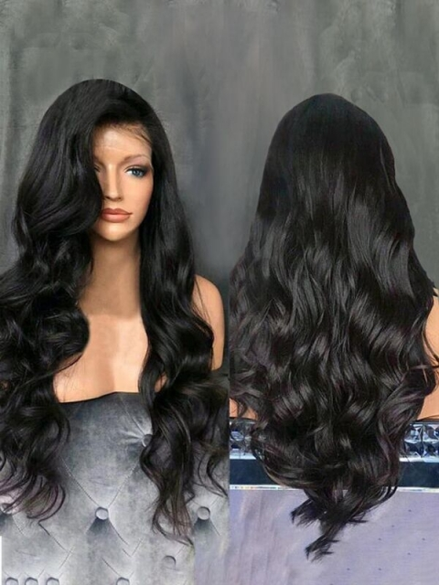 Indian virgin free part preplucked human hair full lace long wavy wig