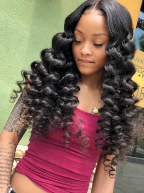 Preplucked Indian virgin 360 lace frontal human hair tight waves wavy wig