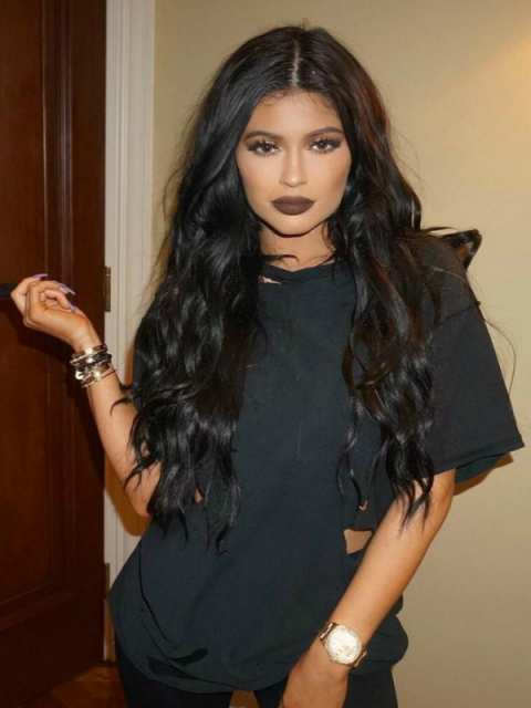 Indian virgin 6 inches deep parting preplucked KYLIE JENNER inspired long wavy lace front human hair wig