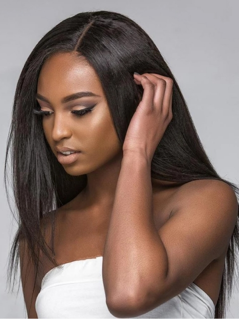 Preplucked Indian virgin 360 lace frontal human hair light yaki wig