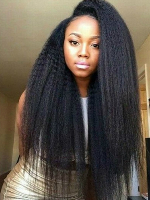Indian virgin 6 inches deep parting preplucked human hair lace front kinky yaki wig
