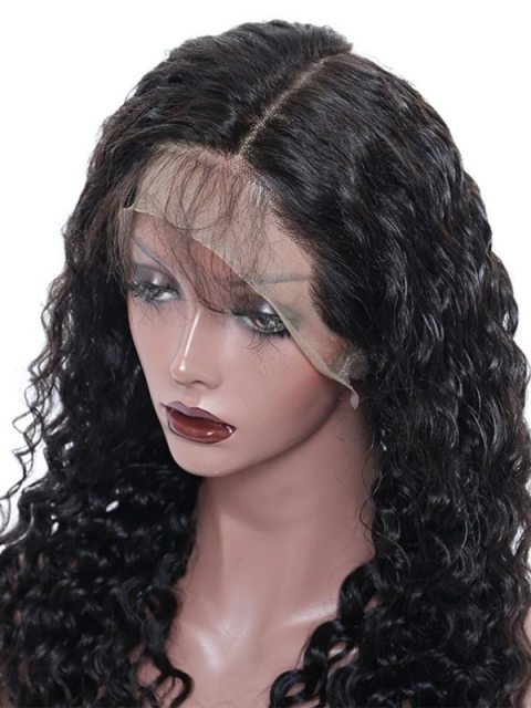 Indian virgin 6 inches deep parting preplucked deep wavy lace front human hair wave wig
