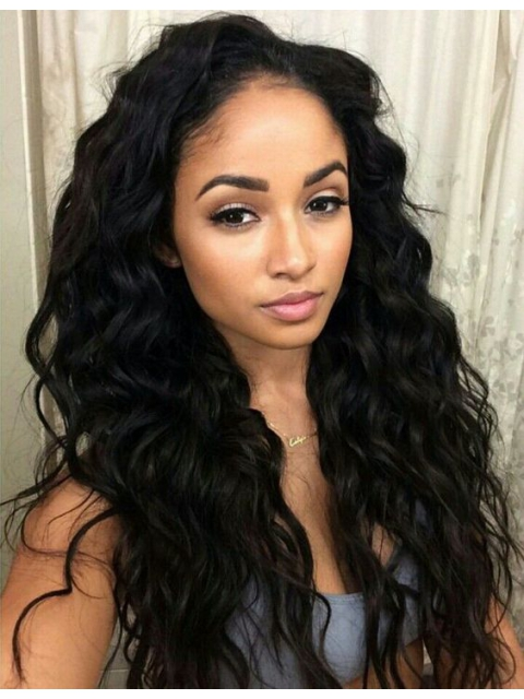 18 inches indian remy beachy wave free part full lace human hair wig