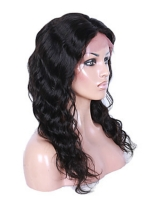 18 inches indian remy beachy wave free part full lace human hair wig - BWE008