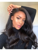Invisible HD skin melt swiss lace 6 inches deep parting straight human hair lace front wig with wand curls- SWL006
