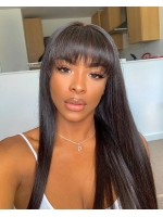 Indian virgin preplucked 6 inches deep parting lace front human hair long straight wig with bangs-LFS068