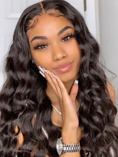 Indian virgin preplucked full lace human hair wavy wig